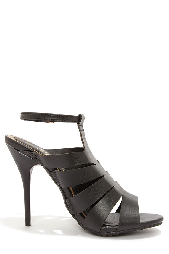 Bruno Valenti Brittney 4 Black Strappy Peep Toe Heels at Lulus.com!