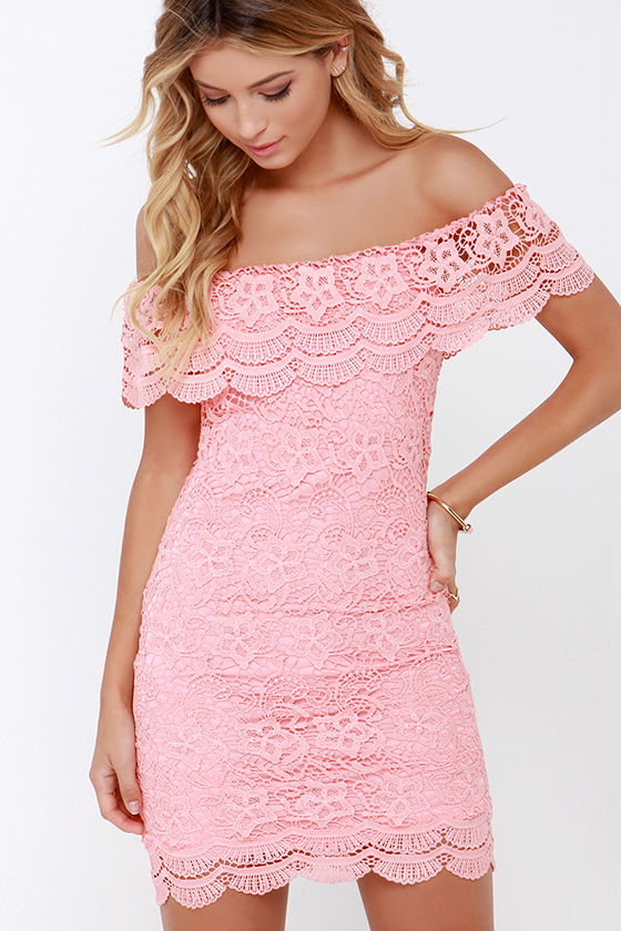 Islands In The Stream Coral Lace Off The Shoulder Dress