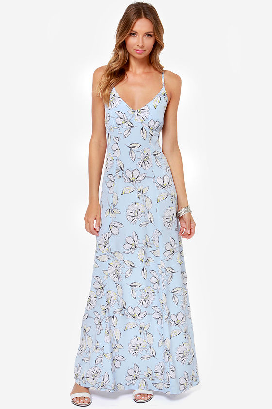 BB Dakota Elvya Blue Floral Print Maxi Dress at Lulus.com!