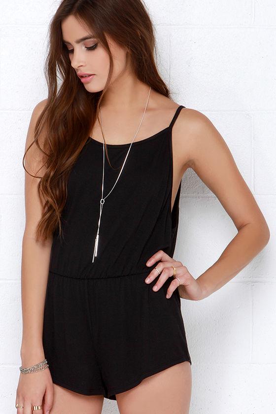 576ab2723c71 Black Romper - Sleeveless Romper - Jersey Knit Romper -  29.00