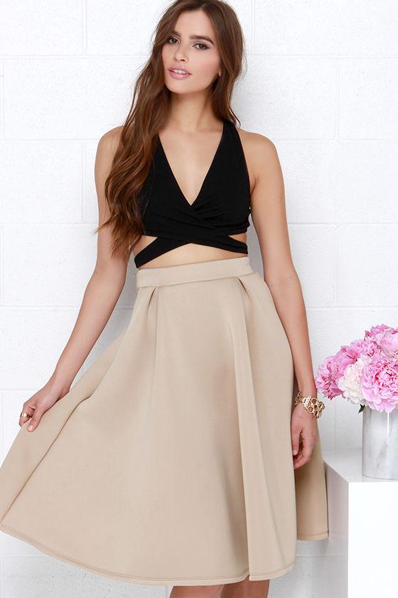 Tres Sophisticated Beige Midi Skirt