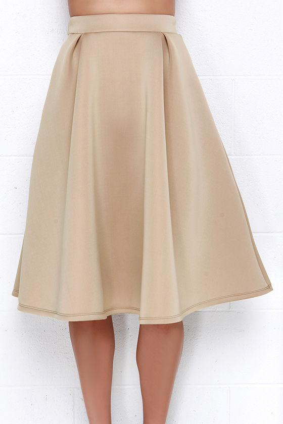Chic Beige Skirt - Midi Skirt - High-Waisted Skirt - $39.00