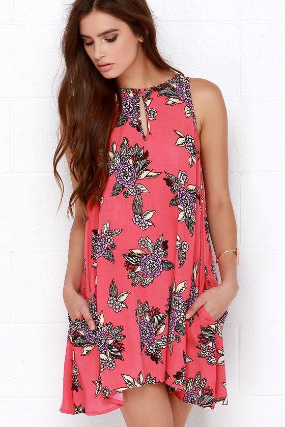 7d51593714 Mink Pink Cherry Pie Coral Pink Floral Print Dress