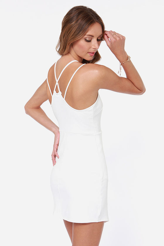 Strap Me Silly Ivory Bodycon Dress at Lulus.com!
