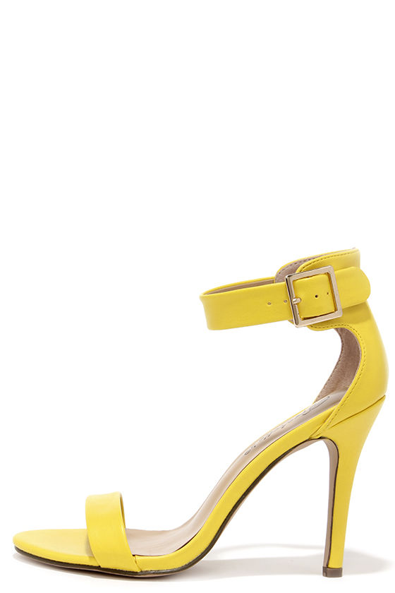Pretty Yellow Heels - Ankle Strap Heels - Single Strap Heels - $25.00