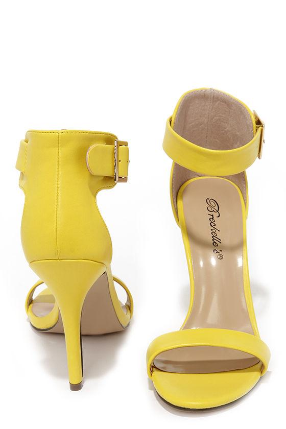 Pretty Yellow Heels - Ankle Strap Heels - Single Strap Heels - $25.00