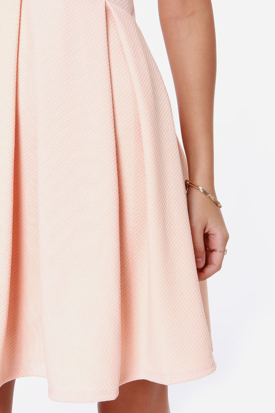 Pleat and Tidy Peach Dress at Lulus.com!