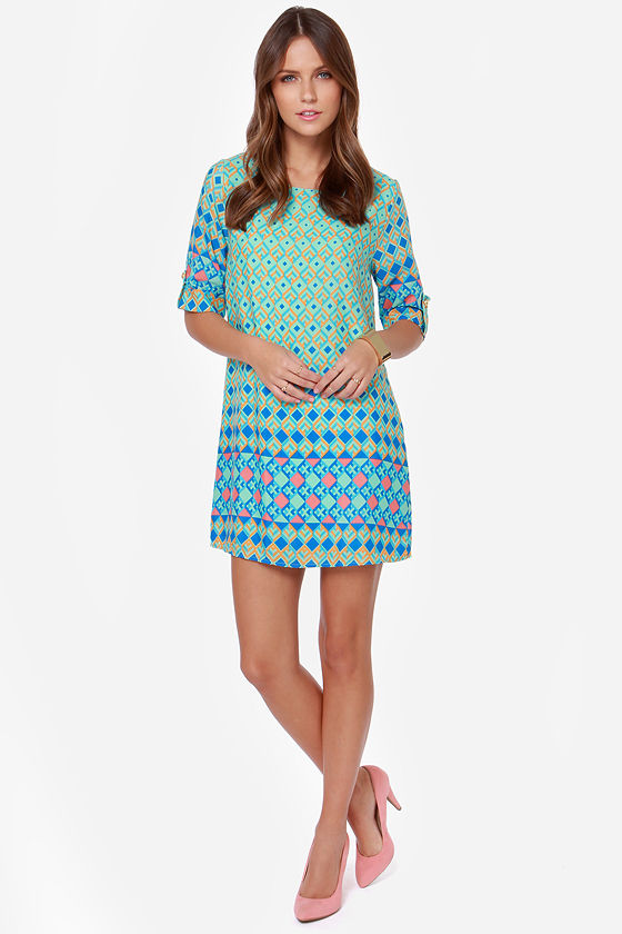 Day Shift Mint Print Shift Dress at Lulus.com!