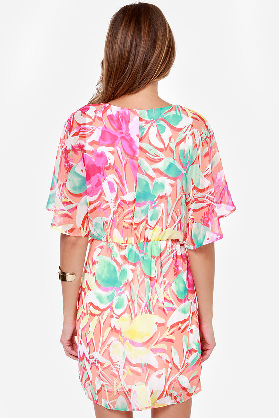Mai Tai Join You? Coral Floral Print Dress at Lulus.com!