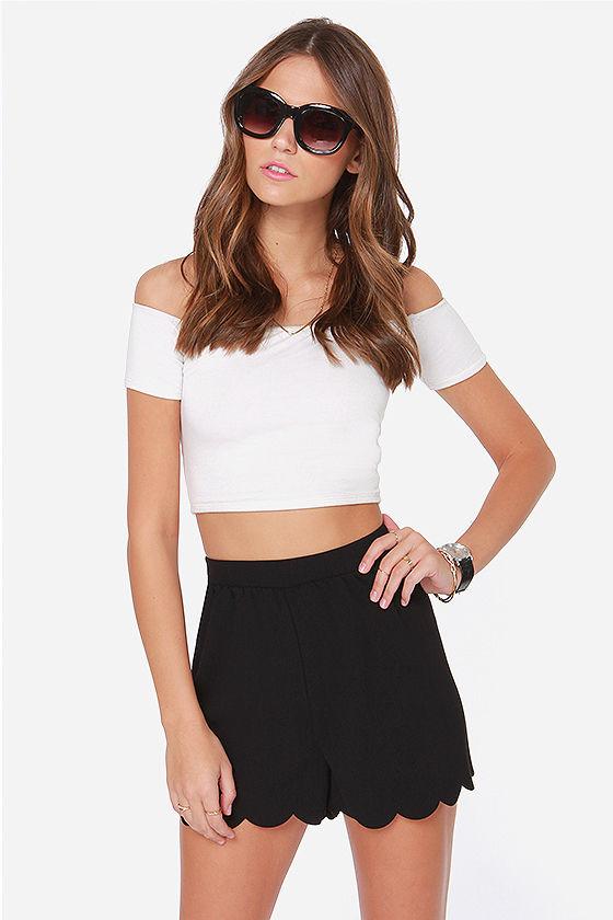 Cute Scalloped Shorts - Black Shorts - High Waisted Shorts - $34.00