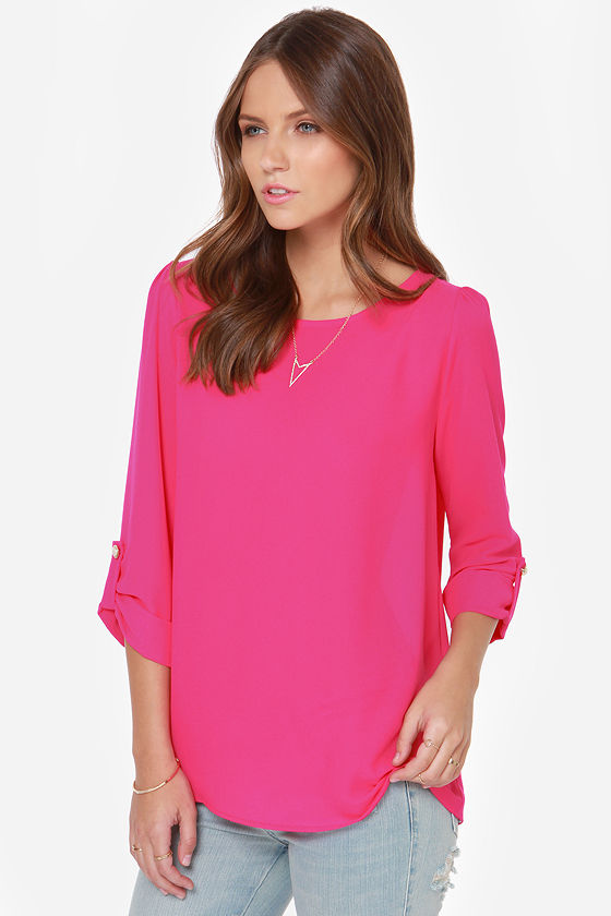 Sleek Peek Hot Pink Top at Lulus.com!