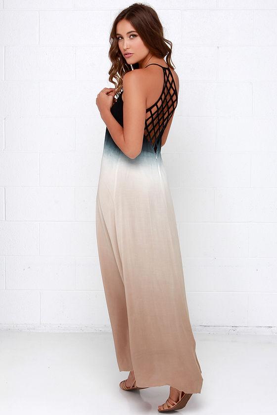 ccf9034a821 Boho Dress - Maxi Dress - Dip-Dye Dress - Black Dress -  68.00