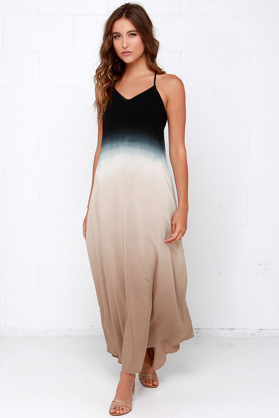 Boho Dress - Maxi Dress - Dip-Dye Dress - Black Dress - $68.00