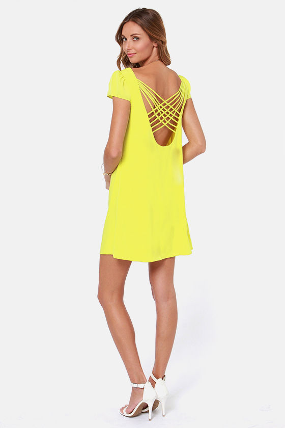 LULUS Exclusive Double Crosser Bright Yellow Shift Dress at Lulus.com!