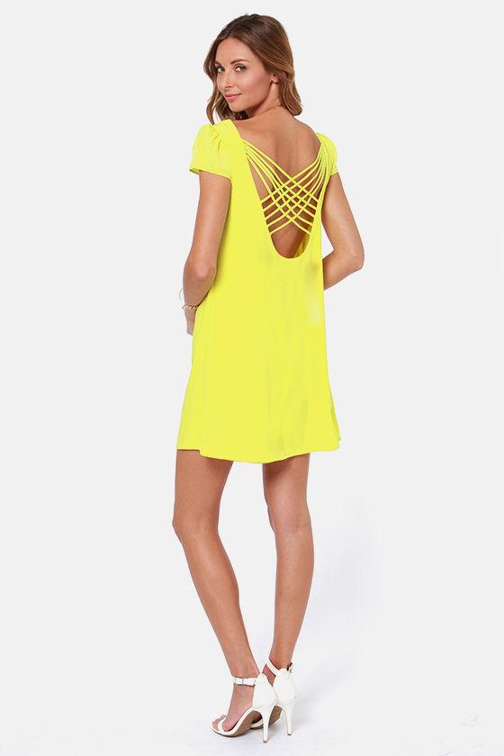 97c25d7a2d6573 Sexy Yellow Dress - Backless Dress - Shift Dress - $48.00
