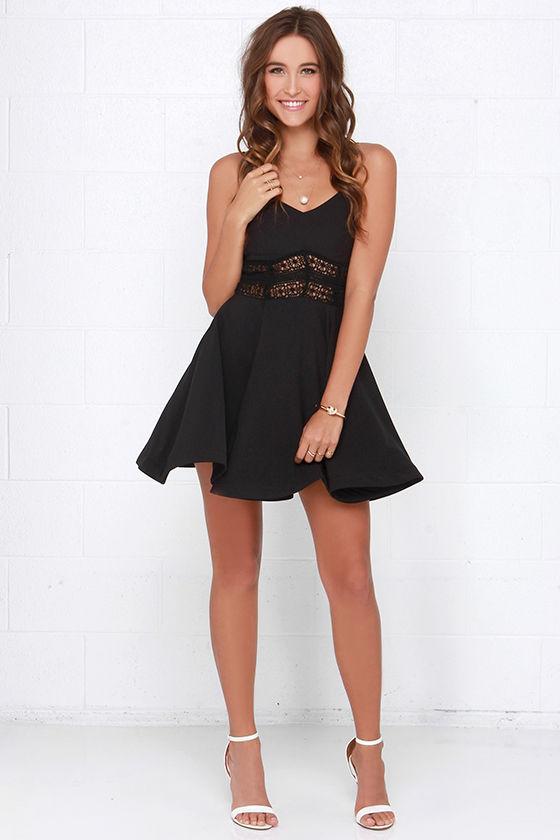 92849244899b3 Pretty Black Dress - Lace Dress - Skater Dress - $48.00