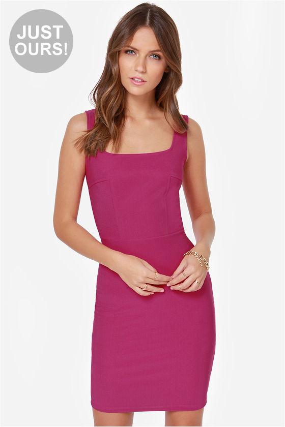 Pretty Magenta Dress - Cocktail Dress - Bodycon Dress - $38.00