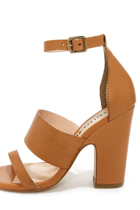 Chelsea Crew Black Label Ollie Tan Leather High Heel Sandals at Lulus.com!