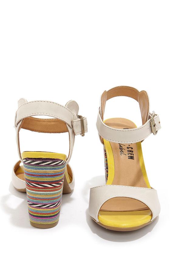 Chelsea Crew Black Label Brit Cream and Yellow Rainbow Heels at Lulus.com!