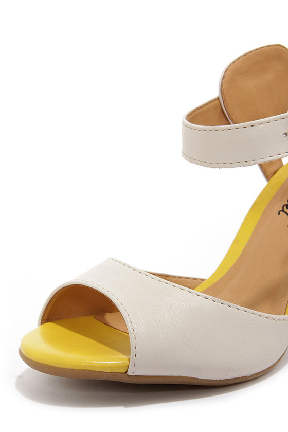 Chelsea Crew Black Label Brit Cream and Yellow Rainbow Heels at Lulus.com!