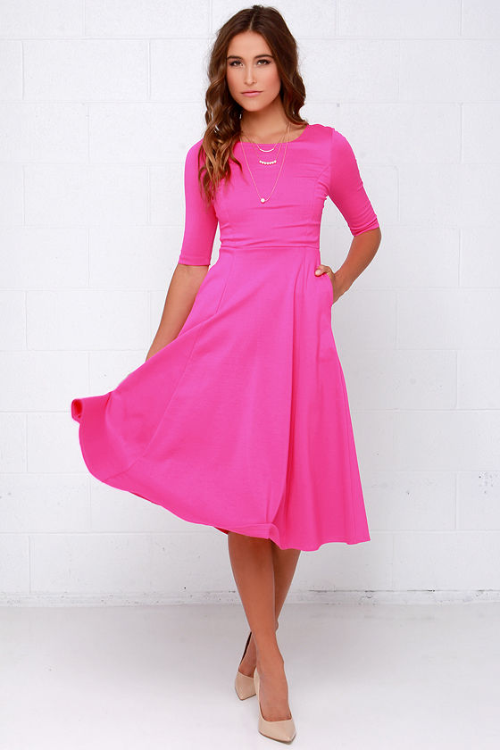 Cute Hot Pink Dress - Midi Dress - Cocktail Dress - $52.00