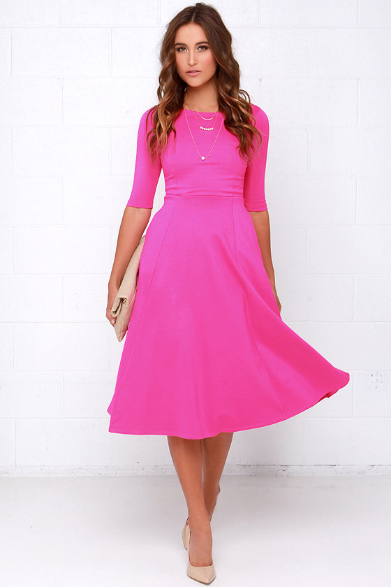 2e3e58cc8d4 Cute Hot Pink Dress - Midi Dress - Cocktail Dress -  52.00