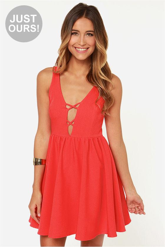 Sexy Coral Red Dress - Sleeveless Dress - V Neck Dress - $44.00