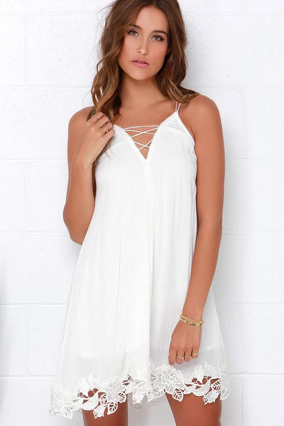 White long sleeve crisscross strappy club - Boho Dress Ivory Dress Strappy Dress Lace Dress 42 00