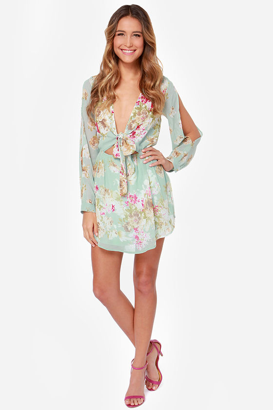 Rosa Palooza Mint Floral Print Dress at Lulus.com!
