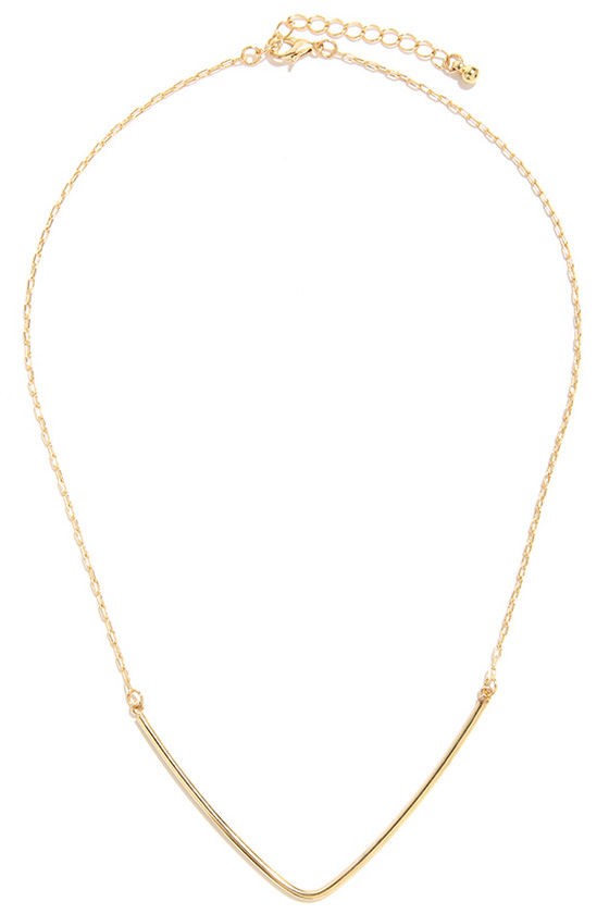 What You V is What You Get Gold Necklace at Lulus.com!