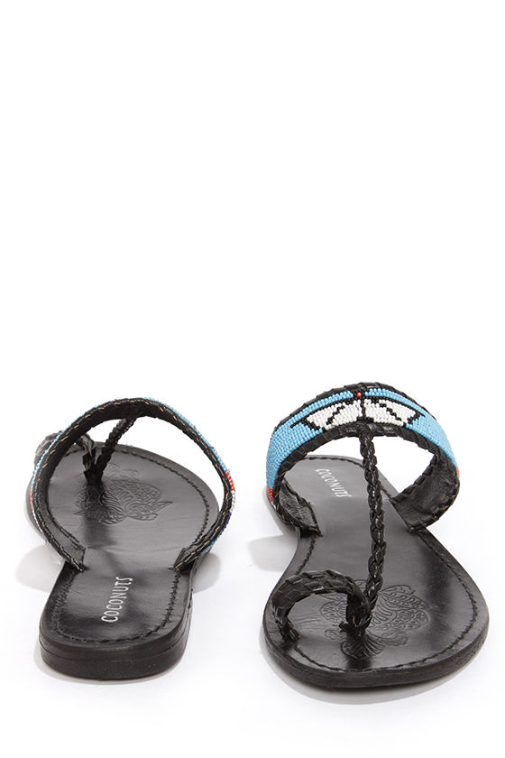 Coconuts Tonto Black Beaded Thong Sandals at Lulus.com!