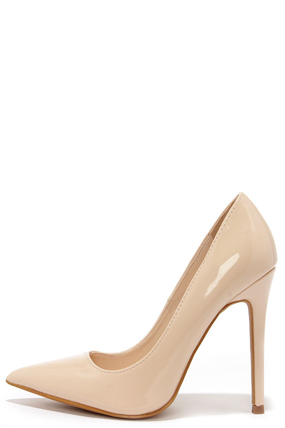 Cute Patent Pumps - Pointed Pumps - Nude Heels - $34.00