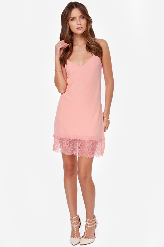 LULUS Exclusive Slink Again Peach Lace Dress at Lulus.com!
