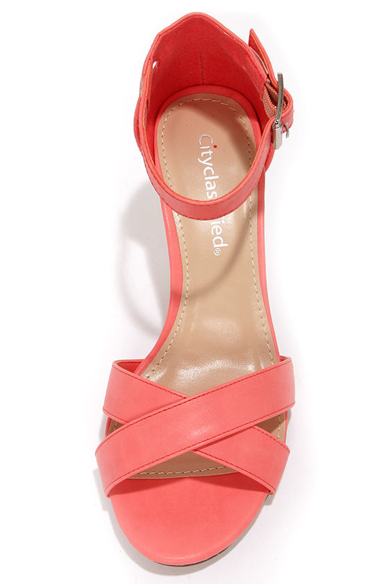 City Classified Suite Salmon Ankle Strap Heels at Lulus.com!