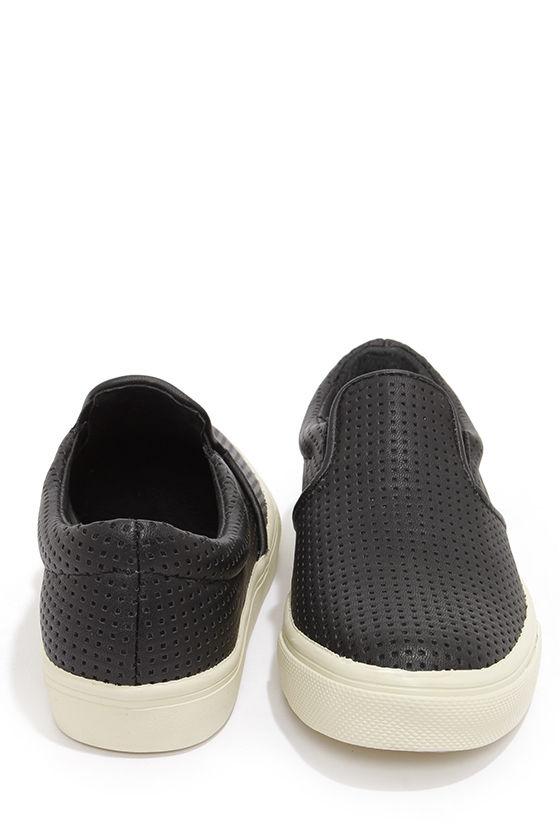 2f828f34086 Steve Madden Perfie Black Slip-On Perforated Sneakers