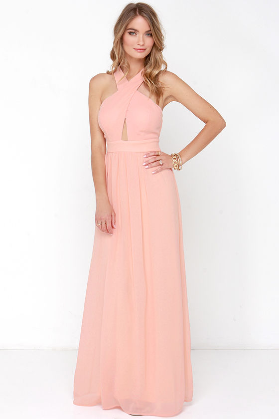 Peach Gown - Peach Maxi Dress - $68.00