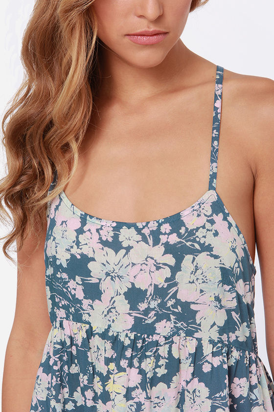 O'Neill Charity Blue Floral Print Dress at Lulus.com!
