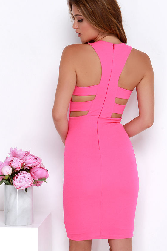 Hot Pink Dress - Bodycon Dress - Midi Dress - $48.00