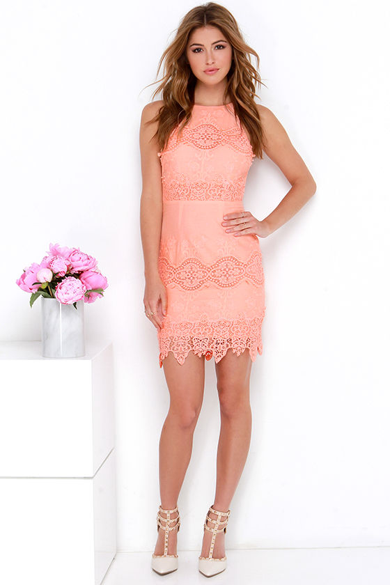 peach dress and shoes