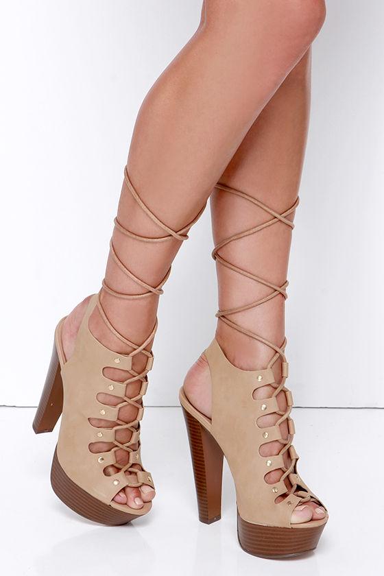 Sexy Tan Heels - Platform Heels - Lace-Up Heels - $32.00