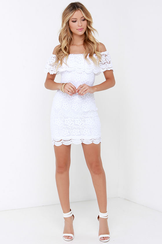 White Dress - Lace Dress - Off-the-Shoulder Dress - $58.00