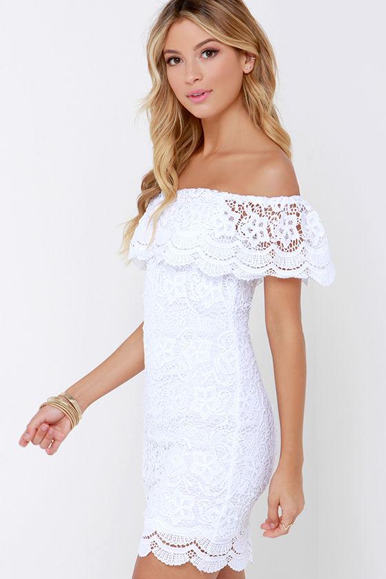 White Dress - Lace Dress - Off-the-Shoulder Dress - $58.00