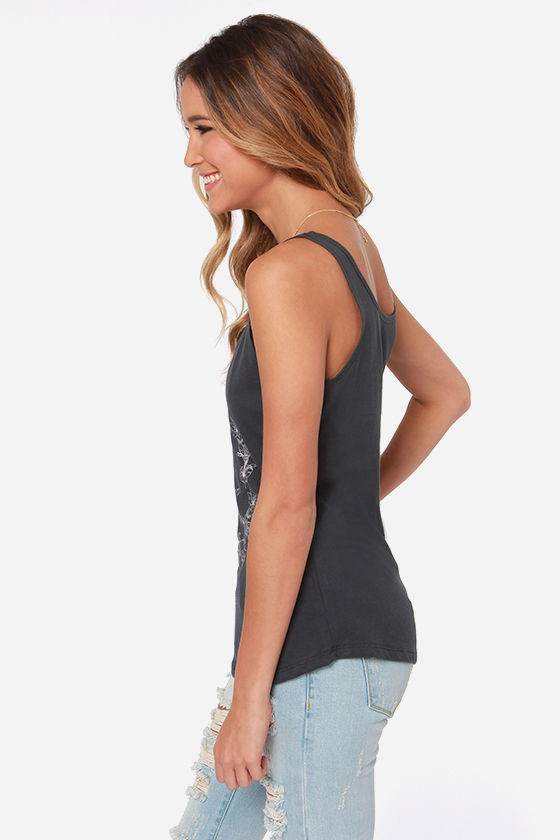 O'Neill Hummingbird Washed Black Tank Top at Lulus.com!
