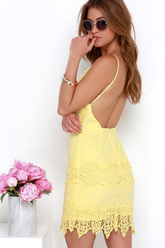 03dd2f0df29 Pretty Yellow Dress - Apron Dress - Lace Dress -  68.00