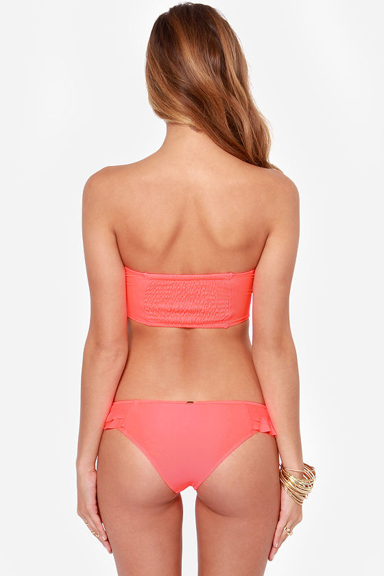 O'Neill Solids Ruffle Neon Coral Bustier Bikini at Lulus.com!