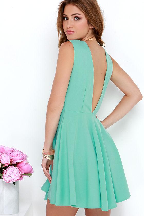 mint blue dress skater dress fit and flare dress