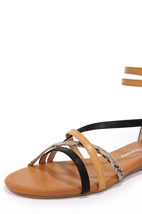 CL by Laundry Shannen Black and Beige Ankle Strap Sandals at Lulus.com!