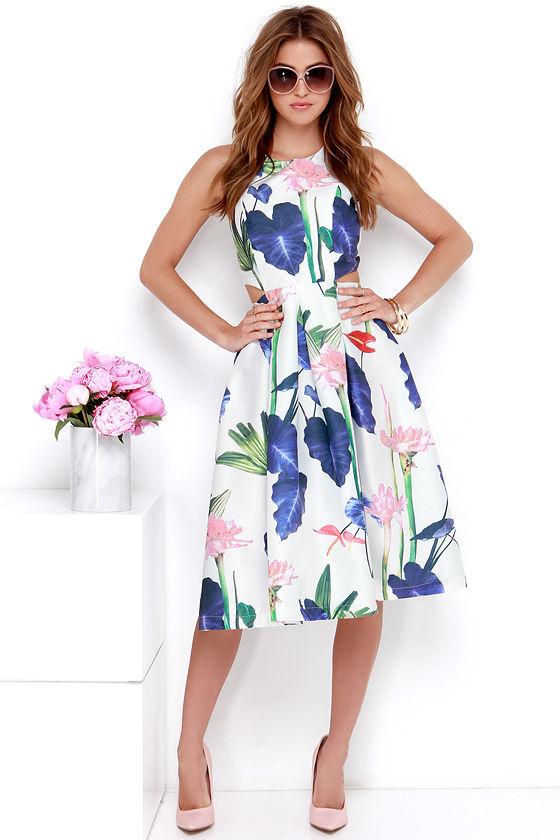b3d2f8bbb383 Chic Floral Print Dress - Midi Dress - Cutout Dress -  74.00