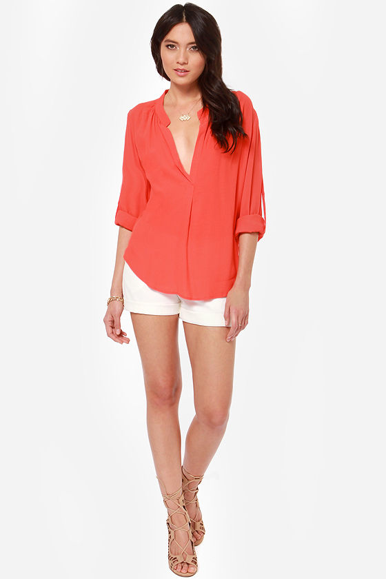 Call It Magic Coral Red Top at Lulus.com!