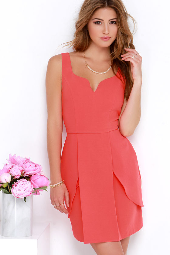 Pretty Coral Red Dress - Sheath Dress - Sweetheart Dress - $88.00